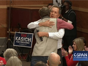 Yeah, if we were polling as low as John Kasich but still going through the motions in the most grueling reality show in America, we'd need a hug, too.