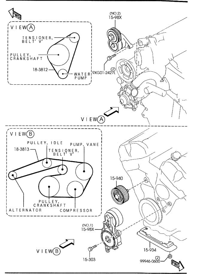 2003-2008 Mazda Mazda 6 V6 3.0L Serpentine Belt Diagram