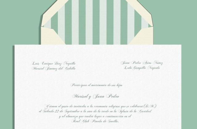 Invitación rayas PANTONE Grayed Jade