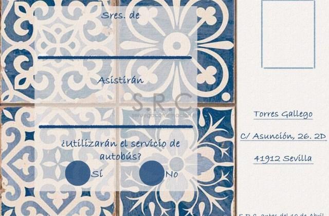 Postales de confirmación de asistencia azulejos Mónaco Blue