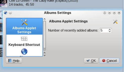 Changing the Albums applet setting in Amarok 2.3.2