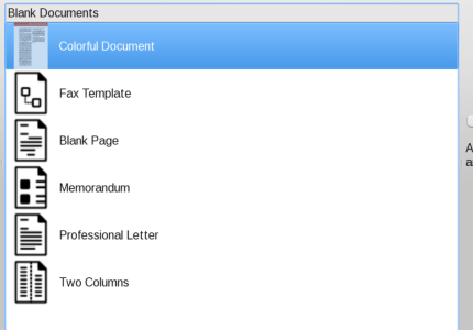 Kword - templates for blank documents.... seems counterintuitive