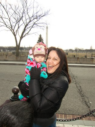 Scarlett with Abuela and the Washington Monument