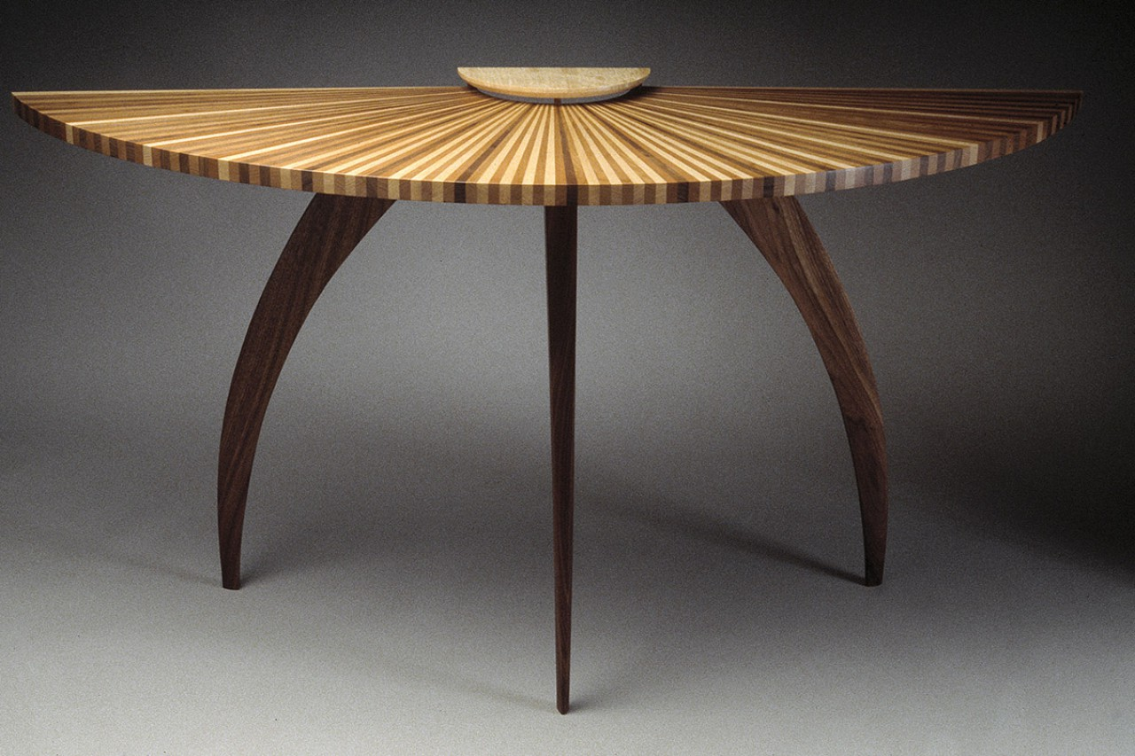 T Demilune Wood Entry Hall Table Made From Walnut Cherry And Maple With  Curved Legs