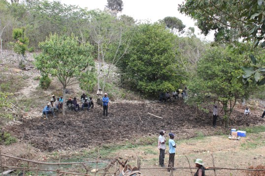When we first arrived at Bois Jolie, our nursery site was cleared of vegetation but was still on a slope, so we had to flatten the area with hoes, shovels, and banana fronds.