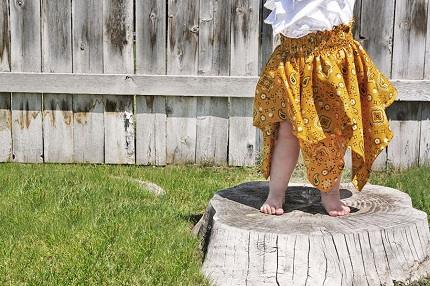 Tutorial: Shirred bandana baby dress or skirt