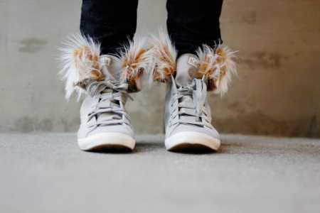 Tutorial: Removable fur cuffs for high top shoes