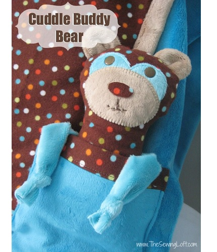 Free pattern: Cuddle Buddy Bear and a pocketed pillowcase to keep him close