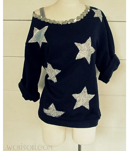 Tutorial: No-sew off-the-shoulder star sweatshirt