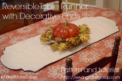 Free pattern: Reversible insulated table runner with decorative ends