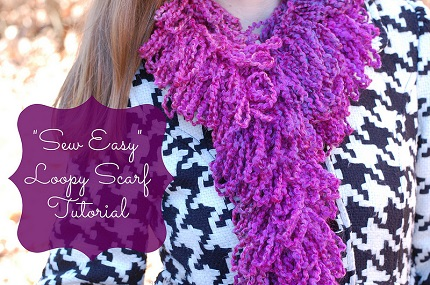... : Loopy yarn scarf, no knitting or crocheting required - Sewing