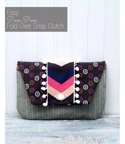 Tutorial: Pom Pom Fold-Over Snap Clutch