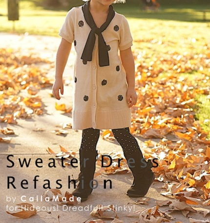 Tutorial: Little girl's refashioned sweater dress