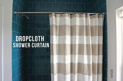 Tutorial: Striped shower curtain from a drop cloth
