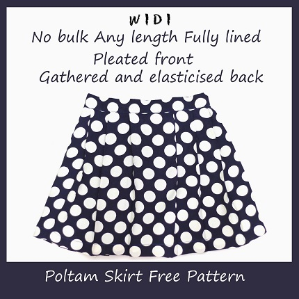 Tutorial: Poltam skirt with a pleat front, elasticized back