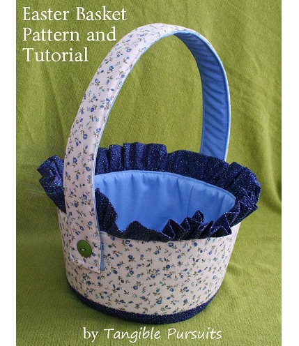 Free pattern: Fabric Easter basket with ruffle trim