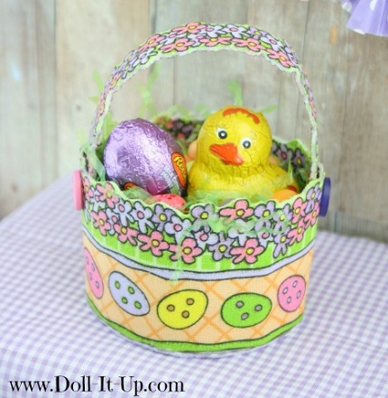 Tutorial: No-sew doll-sized fabric Easter basket