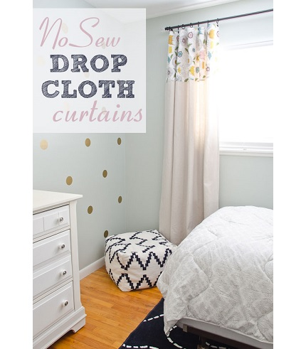 Tutorial: Curtain from a drop cloth, no sewing required
