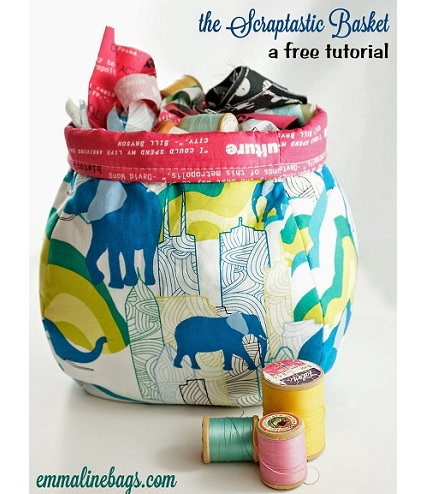 Free pattern: Scraptastic Fabric Basket in two sizes