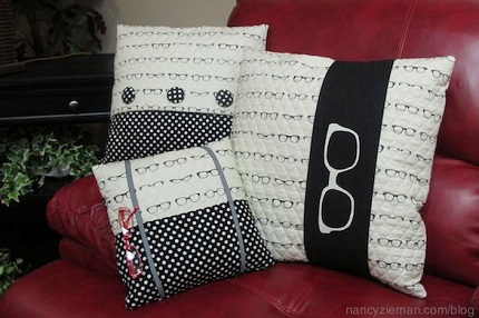 Tutorial: Trio of throw pillows, including a book pillow with eyeglass pocket
