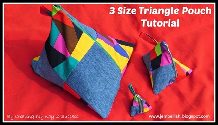 TutorialTriangle zippered pouch in 3 sizesSewing