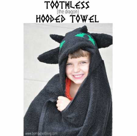 Tutorial: Toothless the Dragon hooded towel