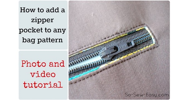 Tutorial: Add a zippered pocket to a purse pattern