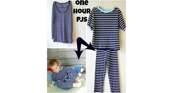 Free pattern: 1 hour kids PJs from an adult t-shirt