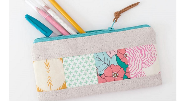 Tutorial: Patchwork zippered pouch