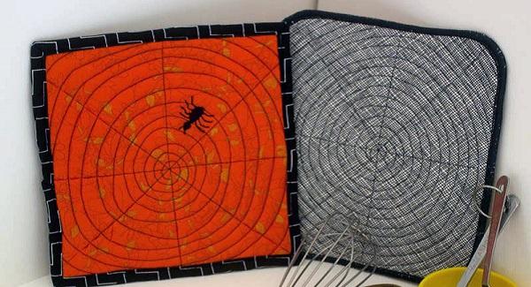 Tutorial: Halloween spiderweb potholders