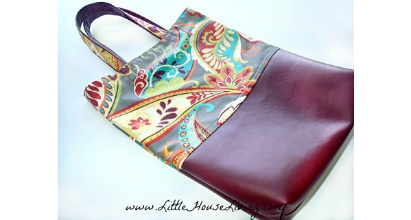 Tutorial: Leather bottom reusable market tote