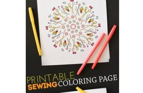 Freebie: Printable sewing coloring page