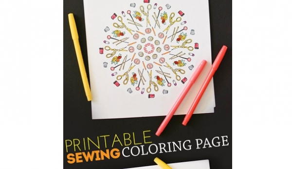 Freebie: Printable sewing coloring page