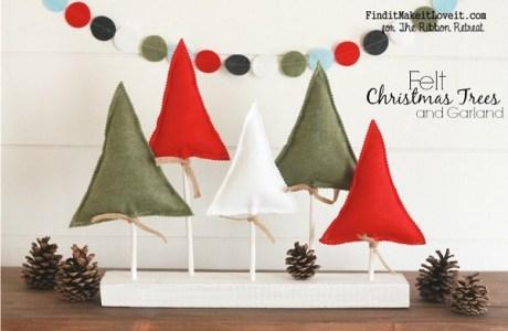 Tutorial: Felt and wood Christmas trees