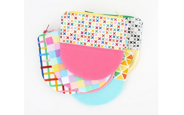 Tutorial: Curved bottom color block zip pouch