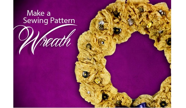 Tutorial: Sewing pattern tissue wreath