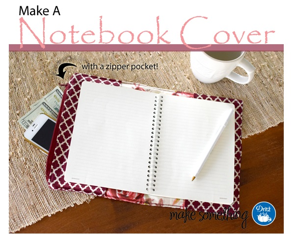 Fabric Book Cover With Zipper Tutorial ~ Tutorial fabric notebook cover with a hidden zipper