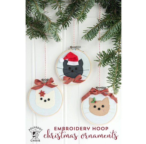 Tutorial: Embroidery hoop cat Christmas ornaments