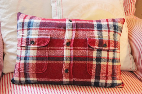 Tutorial: Flannel shirt pillow cover