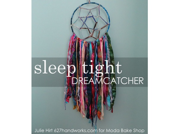 Tutorial: Sleep Tight Dreamcatcher from scrap fabric and yarn