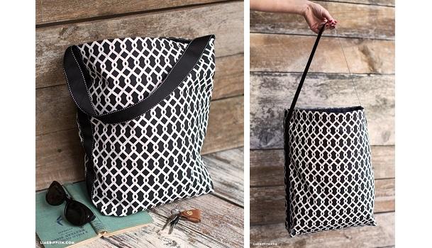 Tutorial: Fabric and ribbon tote bag