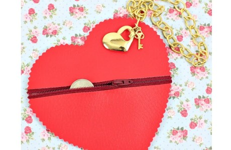 Tutorial: No-sew zipper heart coin pouch