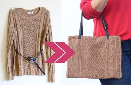 Tutorial: Easy upcycled sweater laptop tote