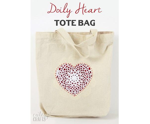 Tutorial: Doily heart tote bag