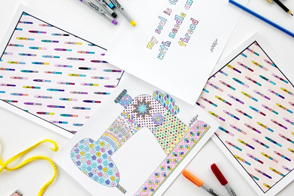 Freebie: Sewing coloring pages