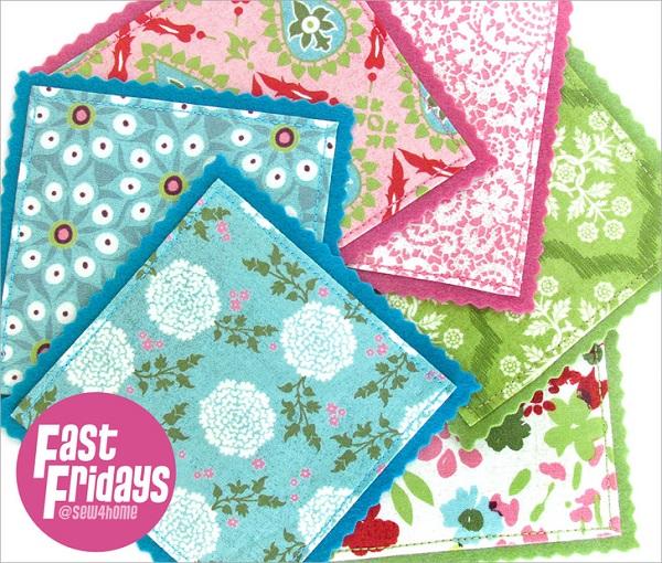 Tutorial Scrap fabric and felt coasters