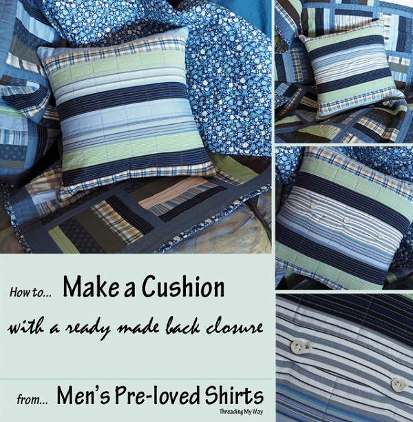 Tutorial: Throw pillow with a repurposed button closure