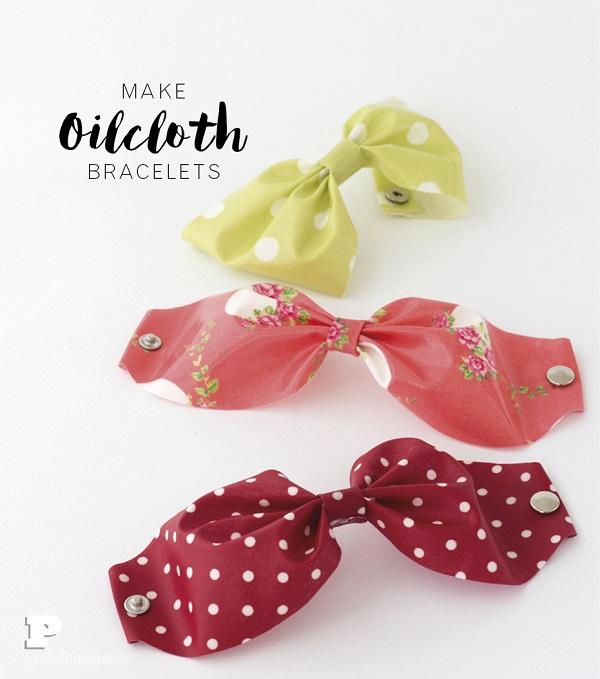 Tutorial: No-sew oilcloth bow bracelets