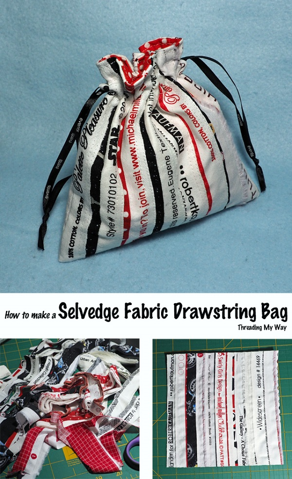 Tutorial: Selvage drawstring bag