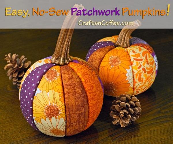 Tutorial: No-sew scrap fabric pumpkins